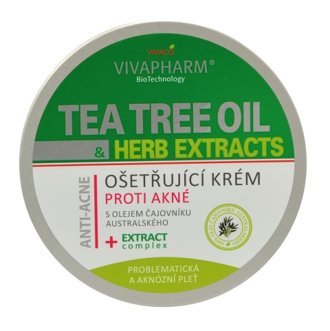 Vivaco Ošetřující krém proti akné s Tea Tree Oil HERB EXTRACT 200 ml